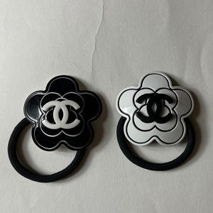 4 Chanel Camellia and CC Hair Tie NEW
